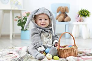 Картинки Праздники Пасха Кролики Яйца Грудной ребёнок Униформа Корзина Ребёнок