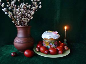 Фотографии Праздники Пасха Натюрморт Кулич Свечи Ветка Ваза Яйцами Дизайна Пища
