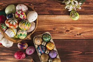 Фотография Праздники Пасха Доски Корзины Яйцо Дизайн
