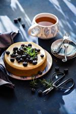 Картинка Горячий шоколад Сладости Черника Пирог Чашка Тарелка