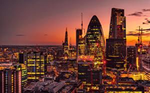 Фото Здания Вечер Англия Лондон 30 St Mary Axe Города