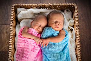 Фотография Младенцы Двое Спит