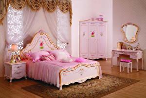 Фотографии Интерьер Детская комната Дизайн Кровать Подушка Ковер