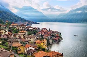 Фотографии Италия Озеро Здания Берег Como Lake Milan Города
