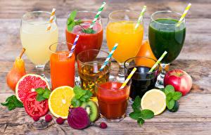 Фотография Сок Напиток Фрукты Овощи Яблоки Доски Стакана Бокалы Продукты питания
