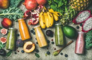 Фотография Фрукты Авокадо Бананы Гранат Инжир Смузи Бутылка Еда