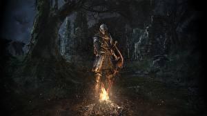 Картинки Рыцарь Dark Souls Костер Броня Remastered Игры