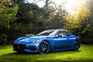 Картинки Мазерати Голубой Металлик 2017-18 Maserati GranTurismo Sport Авто