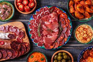 Фотография Мясные продукты Колбаса Ветчина Картошка Нарезка
