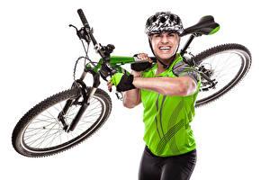 Фото Мужчины Велосипед Шлем Спорт