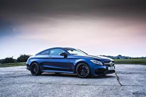 Фотографии Mercedes-Benz Синий Сбоку Купе C-Class, AMG, C205