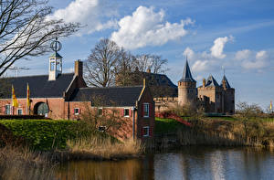 Картинки Нидерланды Амстердам Здания Замки Пруд Castle Muiden Города