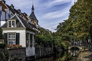 Фотографии Нидерланды Здания Мосты Водный канал Amersfoor Utrecht Города