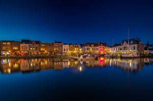 Фотографии Нидерланды Дома Реки Пристань Ночь Leiden South Holland