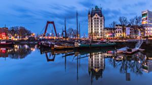 Фотографии Нидерланды Роттердам Дома Реки Причалы Речные суда Вечер город