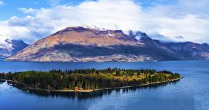 Картинки Новая Зеландия Озеро Гора Остров Причалы Lake Wakatipu Queenstown Природа