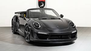 Фотографии Porsche Черный Кабриолет Turbo Stinger 911 GTR 2018 Машины