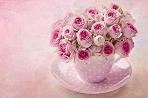 Картинка Розы Букеты Чашка Розовый Тарелка Цветы