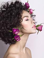 Фото Розы Лицо Красивые Брюнетка Девушки