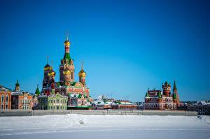 Обои Россия Здания Зимние Храмы Церковь Дизайн Снег Yoshkar-Ola Города