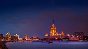 Фотографии Россия Москва Здания Вечер Речка Зимние Снег Города