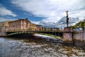 Фото Россия Санкт-Петербург Дома Реки Мосты Fontanka River