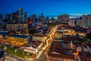 Картинки Сингапур Здания Вечер Дороги Chinatown Города