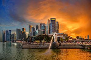 Картинки Сингапур Здания Парки Речка Рассветы и закаты Лестница Merlion Park Города