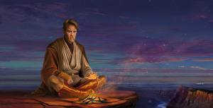 Фотографии Звездные войны Мужчины Ewan McGregor Костер Fan ART Obi-Wan Kenobi Фэнтези