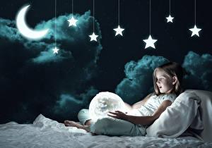 Картинки Звезды Лунный серп Девочки Ночь Облака Кровать Дети