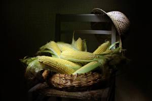 Обои Натюрморт Кукуруза Корзина Шляпа Стулья Пища