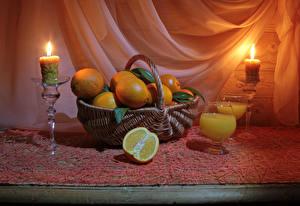Картинки Натюрморт Апельсин Сок Свечи Корзинка Бокал Еда