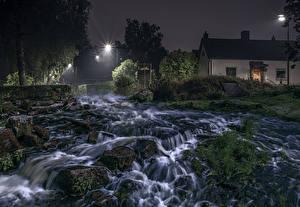 Картинки Швеция Речка Дома Водопады Камень Ночь Мох HDRI Природа