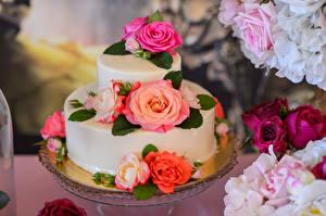 Картинка Сладости Торты Роза Дизайн Пища