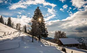 Обои Швейцария Зимние Небо Здания Снег Ель Солнце Облака Деревья Zugerberg Природа