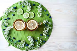 Фотографии Чай Лимоны Черника Чашке Еда