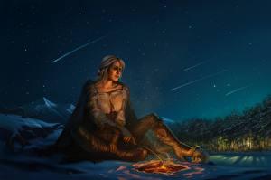 Фотография Ведьмак 3: Дикая Охота Небо Фан АРТ Костёр В ночи Ночь Ciri or the Lion Cub of Cintra, Cirilla Fiona Elen Riannon девушка Девушки