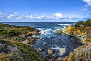 Фотография Штаты Берег Калифорнии Залива Скала Big Sur Природа