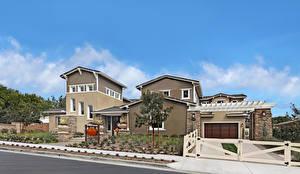 Фото США Дома Калифорния Лос-Анджелес Улиц Особняк Дизайн Гараж Забора Города