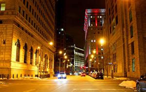 Картинки США Дома Улиц В ночи Уличные фонари Cleveland Города
