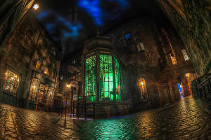 Фото Штаты Парки Здания Флорида Дизайн Ночные Уличные фонари HDRI Disney World Epcot Orlando Города