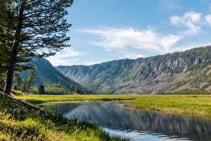 Картинка США Парки Горы Озеро Йеллоустон