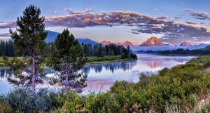 Фото Штаты Парки Горы Речка Леса Небо Ель Облака Grand Teton National Park Природа