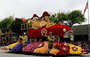 Картинка США Парки Роза Пожарный автомобиль Калифорнии Дизайн Pasadena Цветы