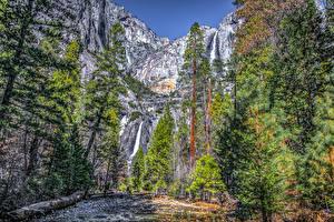 Фотография Америка Парки Водопады Калифорнии Йосемити HDRI Скалы Дерева Природа