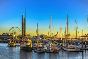 Картинки Штаты Сиэтл Река Причалы Речные суда Парусные Рассвет и закат Яхта город