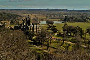Обои Великобритания Замки Деревья Уэльс Margam Castle South