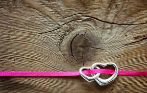 Обои День святого Валентина Сердечко Двое Ленточка