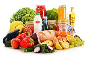 Картинки Овощи Хлеб Виноград Лимоны Перец Белый фон Банка Бутылка Яйца Продукты питания