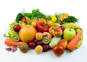 Картинка Овощи Фрукты Яблоки Цитрусовые Сливы Перец Персики Белый фон Продукты питания